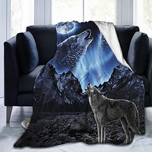 TOBEEY Manta ligera de franela de forro polar para todas las estaciones del año, para sofá y mascotas, diseño de lobos aullando luna, 40 x 50 pulgadas