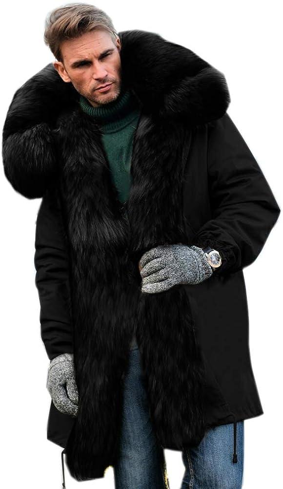Aofur Mens Winter Warm Thick Faux Fur Slim Trench Coat Long Jacket Parka Hooded Pea Coat Winter Coat S-XXXL