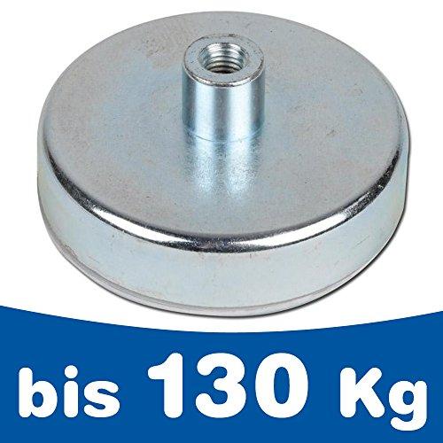 Flachgreifer Magnet Topfmagnet mit Gewindebuchse - Ferrit (HF) Hartferrit - Durchmesser: Ø 10-125mm - Haftkraft: bis 130kg - Magnetsysteme mit Gewinde-Buchse, Größen:Ø 80mm | M10 | 60kg Haftkraft