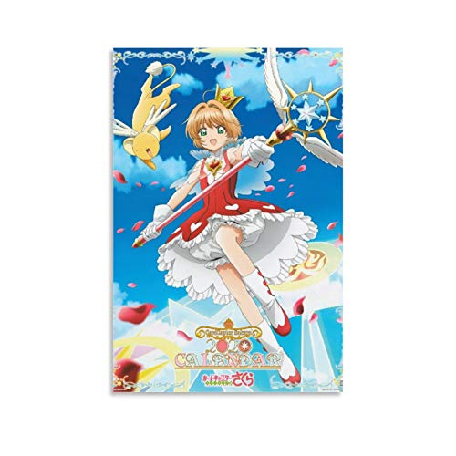 QASD Magic Girl Cardcaptor Sakura Manga Retro Poster Canvas Art Prints Poster Bedroom Wall Mural Modern Family Home Decor 16x24inch(40x60cm)