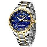 Reloj clásico de diamante de oro para hombres de acero inoxidable impermeable reloj de vestir hombre de lujo analógico reloj de cuarzo reloj luminoso