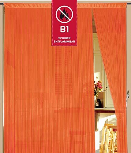 Fadenvorhang 90 cm x 240 cm neon-orange in B1 schwer entflammbar