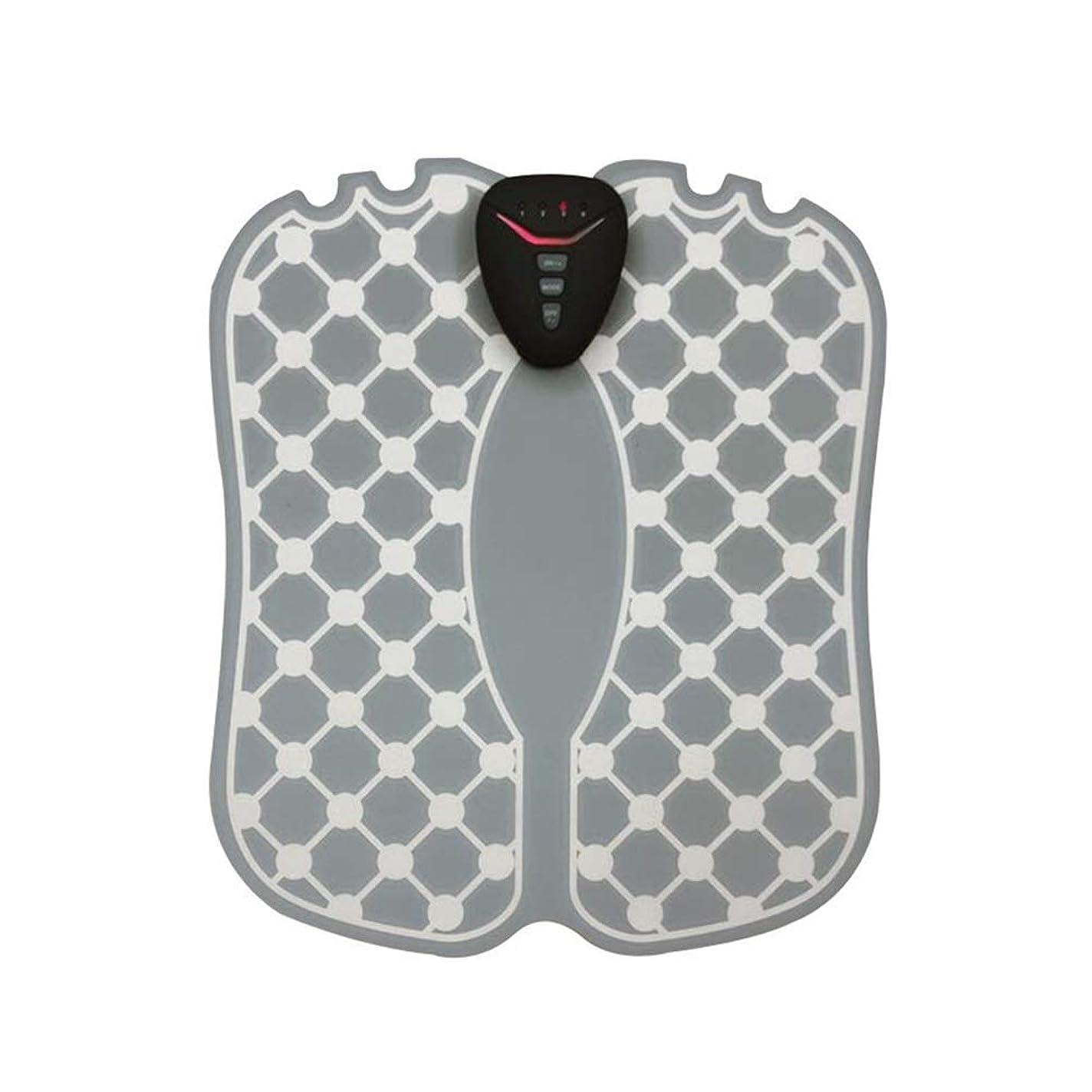 着実に振り向く同意IMATE 2019年最新の改良品 EMS フットマッサージャー タイプ1.AAA形乾電池式 タイプ2.USB充電式 フットフィット スタイルマット 歩く力を鍛える 美脚トレ 折り畳みOK 超薄軽 ジェルシート不要 男女兼用 グレー
