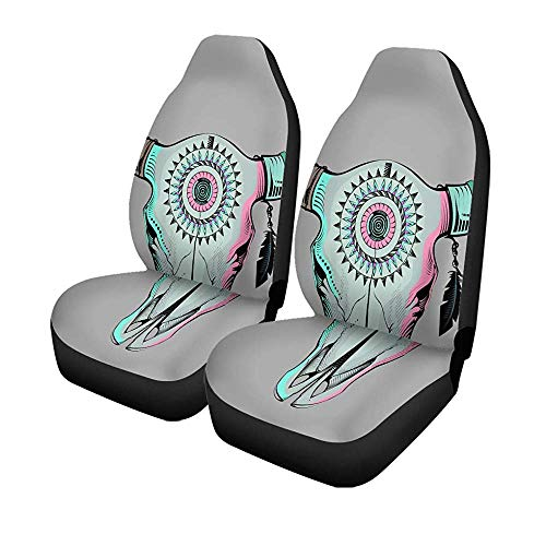 Beth-D set van 2 autostoelhoezen beigekleurde kop Ethnic Bull Blue Dead Aztec Mexican Universal auto voorstoelbeschermer 14-17IN