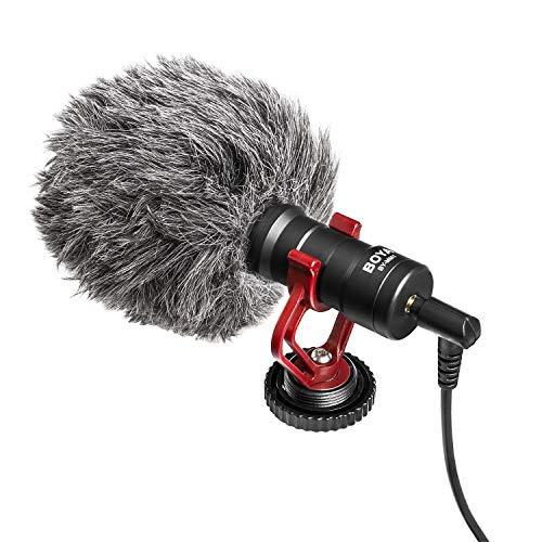 Boya video microfono, universale YouTube Vlogging Facebook Livestream registrazione shotgun microfono per iPhone/smartphone, fotocamere e videocamere Canon EOS/Nikon DSLR Andoid