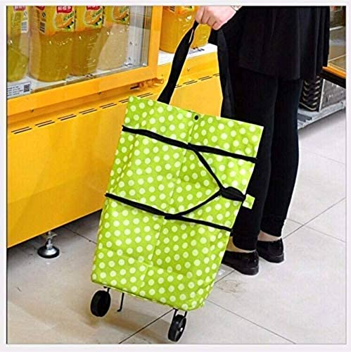 ZOTRIX Shopping Trolley Wheel Folding Travel Luggage Bag Folding Shopping Trolley Bag Vegetable Grocery Shopping Trolley Carry Bag Multicolored
