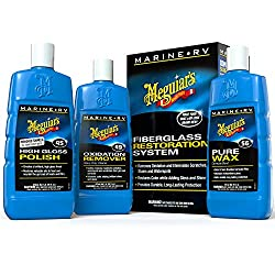 Meguiar's Marine/RV Fiberglass Restoration System, which includes the Meguiar's Oxidation Remover, High Gloss Polish and the Pure Wax