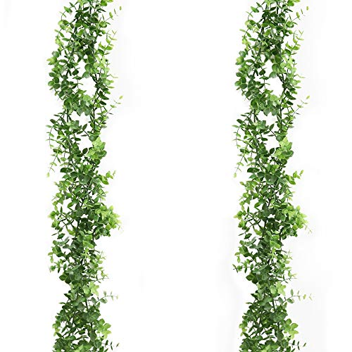 Derbway Viti di Eucalipto Artificiali, 2 Pezzi Ghirlanda di Eucalipto in Finta Seta Viti D'attaccatura delle Foglie Verdi Decorazione per Matrimonio Festa Giardino Stanza Parete Finestre