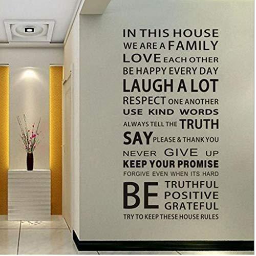 PiniceCore 1Pc Englisch Sprüche Wandaufkleber DIY-Dekor-Kind-Geschenk Family House Rules Aufkleber Lustige Dekoration kreative Vinyl-Wandkunst