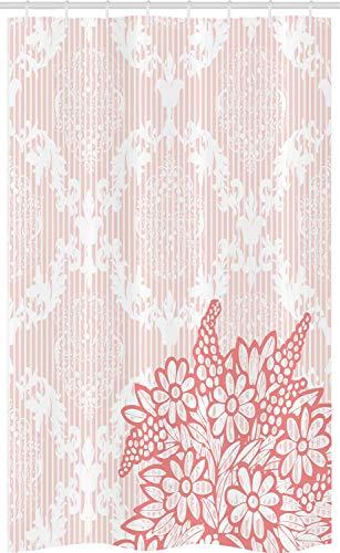 ABAKUHAUS Koralle Schmaler Duschvorhang, Antiker königlicher Blumenstrauß, Badezimmer Deko Set aus Stoff mit Haken, 120 x 180 cm, Hellrosa Korallenrot