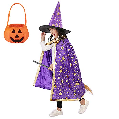 WizardCape with Hat, Pumpkin Candy Bag for Kids Halloween Costumes, Witch...