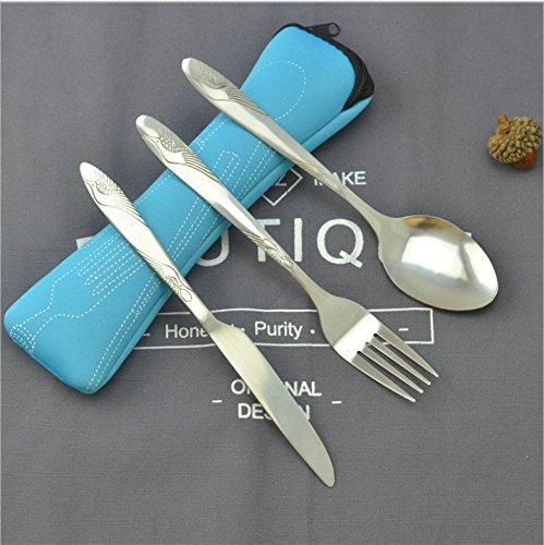 BESTONZON – Juego de 3 cubiertos de acero inoxidable con cuchillo, tenedor, cuchara, bolsos, portátiles de viaje y cubiertos ligeros (verde)