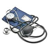 Belmalia tensiomètre avec double tête stéthoscope, pompe balle, manomètre, brassard, poche, noir bleu, ambulance, médecin, pratique