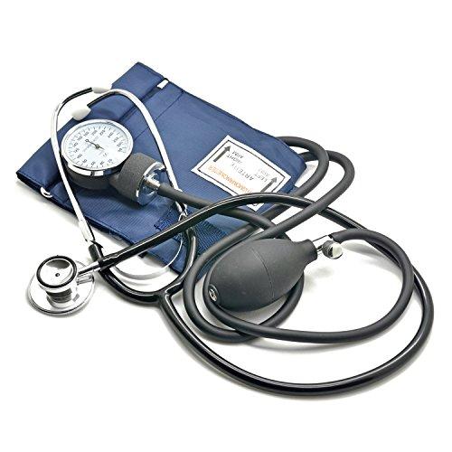 Belmalia Blutdruckmessgerät mit Doppelkopf-Stethoskop, Pumpball, Manometer, Manschette, Tasche für Rettungsdienst, Arzt, Praxis, Manuell, Blau Schwarz