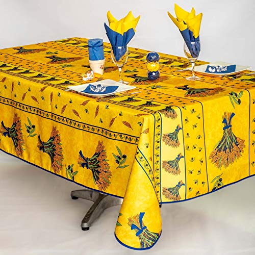 Nappe Bouquet de Blé rectangulaire - Anti Taches, Infroissable - 100% Polyester (Tissu) - Jaune, 240x150cm, Rectangulaire