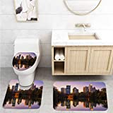 American Bathroom Rug Set,Non-Slip Bath Rugs,Toilet Pad 3-Pack,Midtown Atlanta Skyline and Lake at Dusk,Home Rugs Soft Washable Floor Rug for Tub Shower,16x24 in