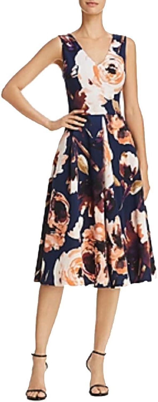 Aqua Floral Print Midi Dress