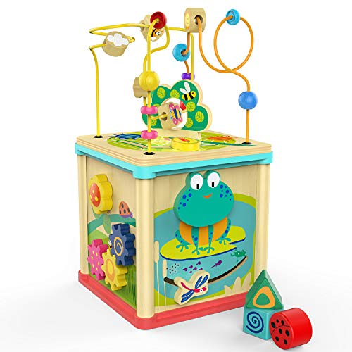 TOP BRIGHT Wooden Activity Cube for 1 2 Year Old with Bead...