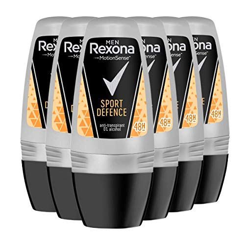 Rexona - Sport defence, desodorante en roll - on, hombre, pack de 6 (6 x 50 ml)