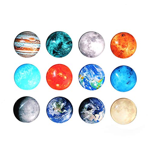 BESTonZON Cosmic Moon Planet Serie - 12 imanes para pizarra, magnéticos, redondos,...