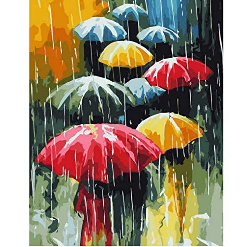 ERTQA Pintura al óleo DIY, Kits de Pintura por números Paisaje de Paraguas Pintura de Lienzo Adultos y Dibujo Principiante 40x50cm