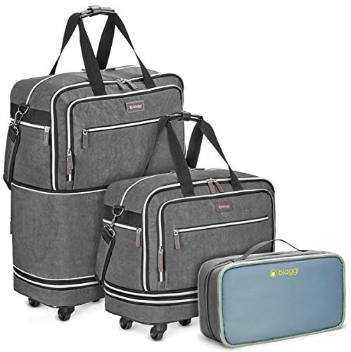 Biaggi Zipsak Boost Max Carry-On Suitcase - Compact Luggage Expandable - As Seen on Shark Tank - Gray