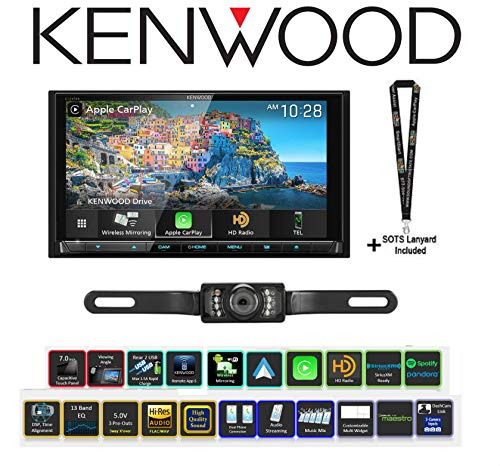 Kenwood Excelon DDX9906XR 6.8 DVD Receiver with a License Plate Style Backup Camera Bundle with Sound of Tri-State Lanyard (Renewed)