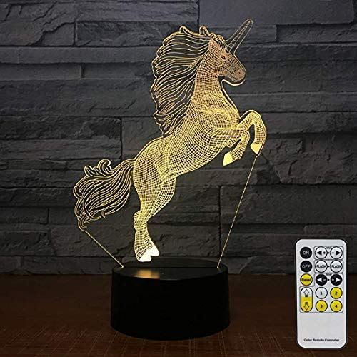 FlyonSea Unicorn Gifts for Girls Unicorn Light 7 Colors Change with Remote Kids Night Light Optical Illusion Lamps for Kids Lamp As a Gift Ideas for Boys or Girls
