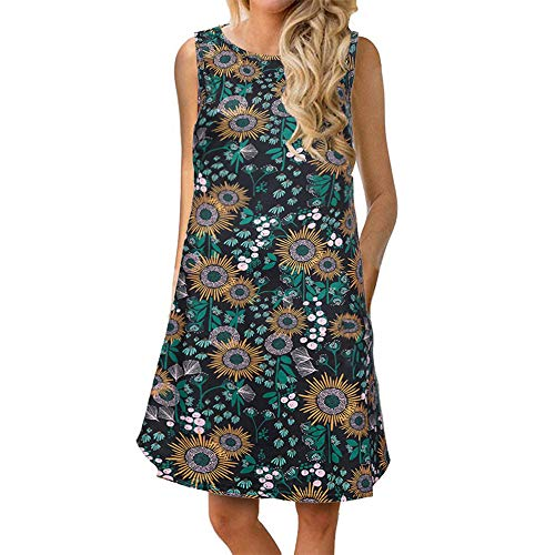 Quealent Summer Beach Dresses for Women Tshirt Sundresses Casual Sleeveless Floral Printed Swing Dress with Pockets