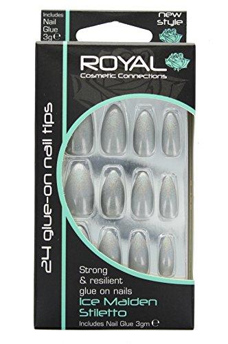 Royal Kit De 24 Faux Ongles Gris Argenté Chatoyant & Colle En Forme Stiletto – Ice Maiden Stiletto