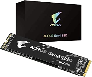 GIGABYTE AORUS Nvme Gen4 M.2 500GB PCI-Express 4.0 Interface High Performance Gaming, 3D TLC NAND Flash, External DDR Cach...