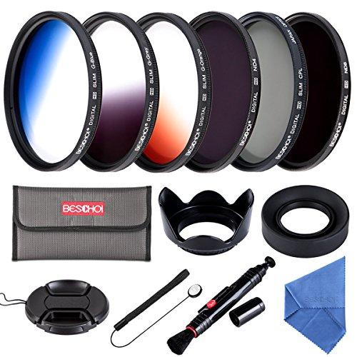 Beschoi 52mm Kit de Filtres Gradué Orange/Bleu/Gris + Filtres Photo CPL ND4 ND8 pour Caméra avec des Autres Accessoires pour l'Objectif d'Appareil Photo