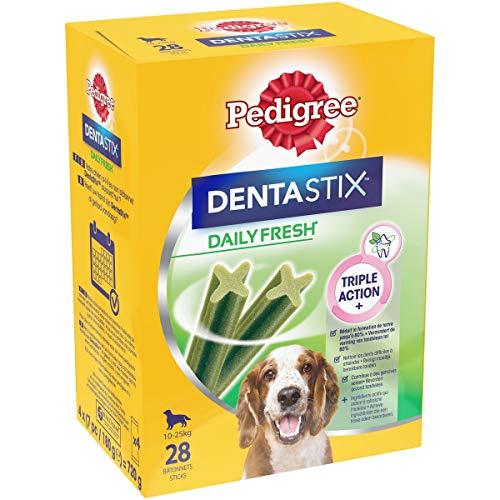 Pedigree Dentastix Fresh - Friandises pour moyen chien, 112 bâtonnets à mâcher pour l'hygiène bucco-dentaire (16 sachets de 7 Sticks)
