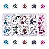 PandaHall Elite 100 ojos de muñeca de plástico para manualidades, 12 x 6 mm, 5 colores mezclados