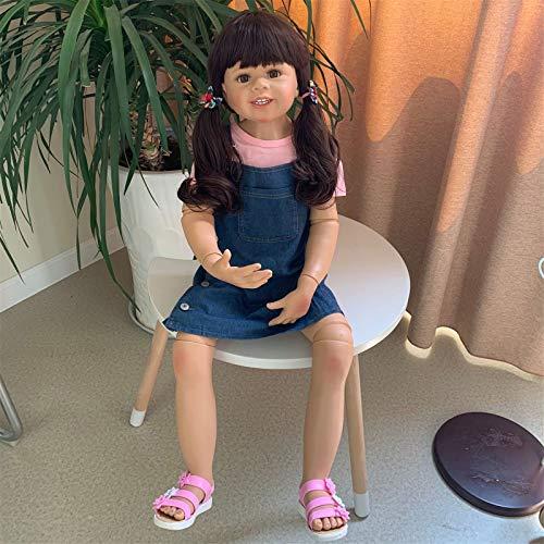 HWZZ 98Cm Große Kindermodellpuppe Silikon-Wiedergeburtspuppe, Geeignet Für Filmmodelle, Kann Im Wasser Gebadet Werden, Der Beste Begleiter,98cm