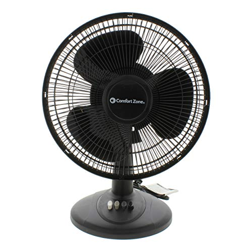 Comfort Zone Oscillating Table Fan | Portable, 3 Speed, Black Fan