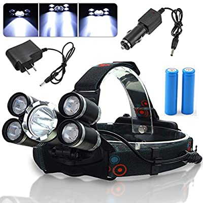 30000 Lumen Rechargeable Headlamp Flashlight, MOCCO Waterproof Powerful 5 Led Headlight illumination Super-Bright Head Light Torch with Battery, Charger, Car Charger for Camping, Working