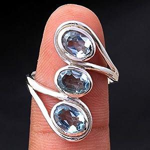 Blue-Topaz 925 Sterling Silber Ringe für Frauen, Blaue Brautjungfernringe, Ovale Edelsteinringe, 3-Stein Designer Ringe…