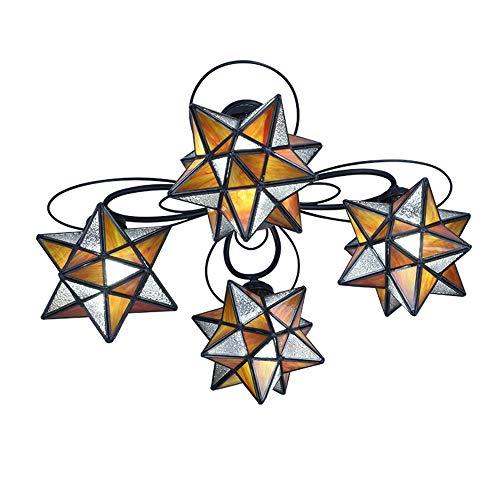 4 vlammen plafond licht mediterrane gekleurd glas sterren plafond lamp tiffany stijl pentagram kroonluchter verlichting voor kinderkamer kleuterschool speelplaats