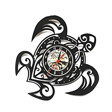 Vinyl Record Design Wall Clock Classic Wall Clocks Quartz Mechanism Black Turtle Vinyl Record