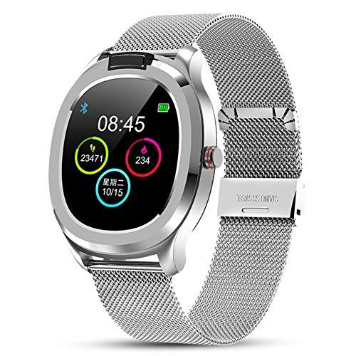 Masskko Smartwatch Fitness Armband Sportuhr Smart Watch mit Temperatur Pulsschlag Blutdruck Blutsauerstoff PPG + EKG für Damen Herren Kompatibel Android IOS,Silber