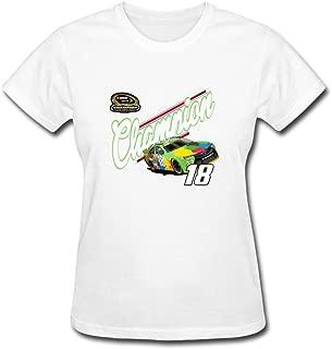SJFKLSG Womens Auto Racing Kyle Busch Sprint Cup Champion Stock Car Racing T Shirts 100% Cotton