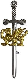 Spilla scozzese da uomo cromata con distintivo dorato 10,2 cm, arpa celtica, drago, leone rampante, cardo e trifoglio