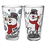 Zak Designs Christmas Collectibles Pint Glasses, 16oz 2 Piece, Frosty the Snowman