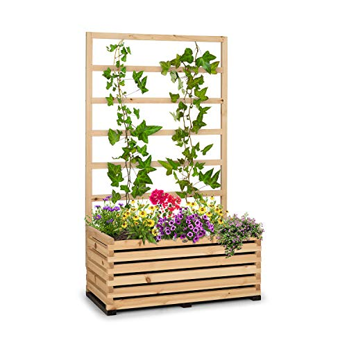 blumfeldt Modu Grow - Hochbeet & Spalier Set, Pflanzschale, Blumenkasten, Blumenkübel, inklusive Spalier / Rankhilfe, solides und haltbares Kiefernholz, 100 x 151 x 50 cm (BxHxT), Kiefer