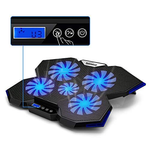 TopMate. C7 Laptop Cooling Pad hasta 17,3 Pulgadas Gaming Laptop Cooler | 5 Ventiladores silenciosos con Luces LED Azules 2 Puertos USB | Diseño de Borde Azul océano