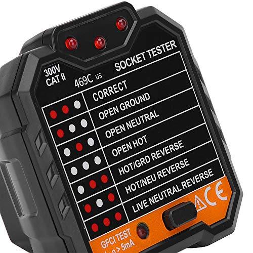 Comprobador eléctrico Comprobador de fallos 48‑250V 45‑65Hz Detector de enchufes portátil con pantalla digital Fábricas para hogares(Transl)