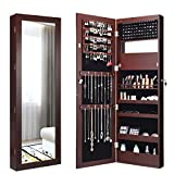 Giantex 15 LEDs Jewelry Cabinet Wall Door Mounted, Lockable Jewelry Armoire with Full Length Mirror, Cosmetics Tray, Lipstick Brush Holders, Build-in Makeup Mirror, Jewelry Cabinet for Women Girls (Brown)