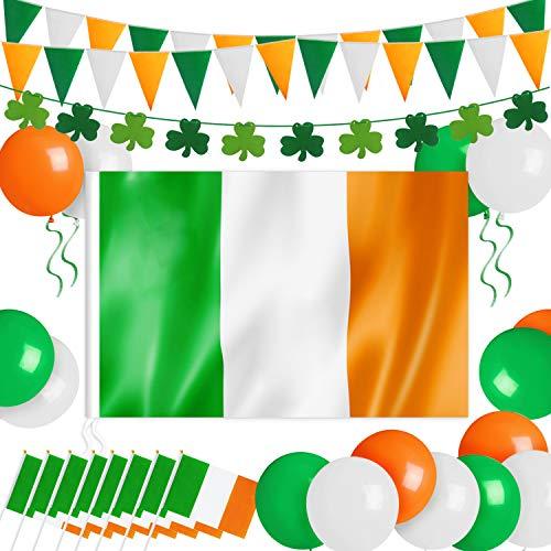 Humairc St Patricks Day Decorations, XL Irish Flag 150*90cm, Irish Pennant Bunting 7m Shamrock Garland 8pcs HandHeld Flag 15pcs Balloon for House School Restaurants Bars Party Accessories