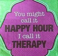 スラントカクテルナプキン - You Might Call It Happy Hour I call It Therapy - 20枚入り
